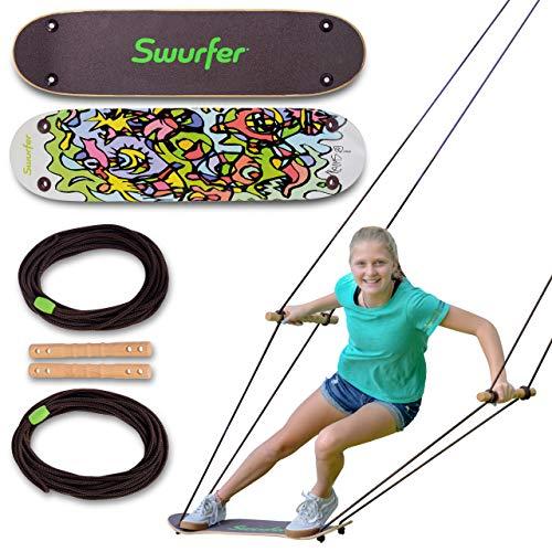 Swurfer The Original Tree Swing with Skateboard Seat Design and Adjustable Handles… (TreeSkate Undawadda)