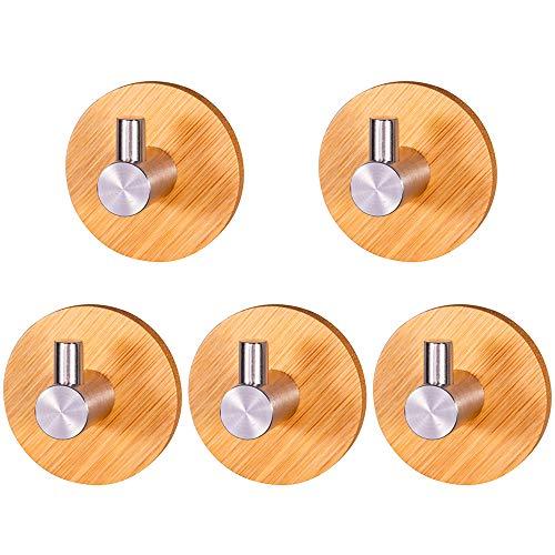 MOPOIN Handtuchhalter Holz, 5 Stück Selbstklebende Haken 304 Edelstahl und Bambus Wandhaken Selbstklebend, Klebehaken für Wohnzimmer, Küche, Badezimmer, Schlafzimmer