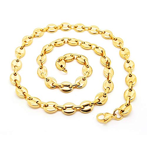 BOBIJOO JEWELRY - Chain Necklace Coffee Bean Man Women Stainless Steel Gold-Plated 4 Gold Plated 9mm