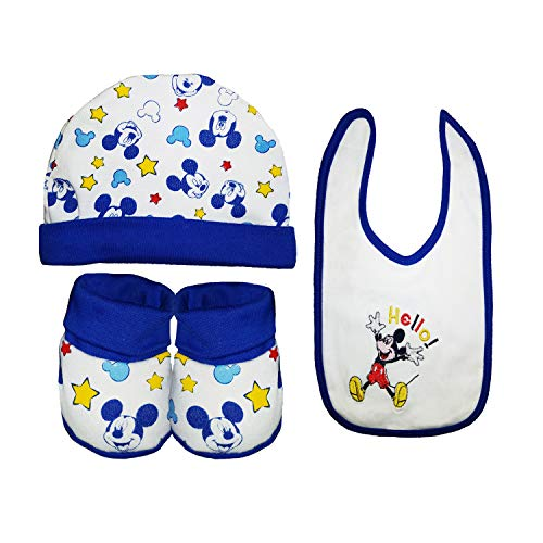Disney Set cadeau 3 pièces nouveau-né / bavoir + chapeau + chaussures Minnie et Mickey Art. WD2000/01 - Multicolore - Taille Unique