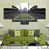 Native American Wall Art Seattle Seahawks Football Stadium Paintings U.S.A Pictures 5 Panel Canvas Wall Art Modern Artwork Home Decor for Living Room Framed Gallery-wrapped Ready to Hang(60''Wx32''H)