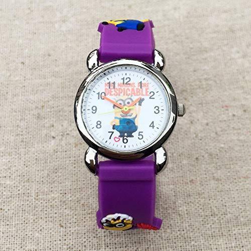 SFBBBO Reloj niño Estilo de Dibujos Animados Relojes para niños Niños Estudiantes Chica Cuarzo 3D Correa de Silicona Reloj de Pulsera Clcok Purple