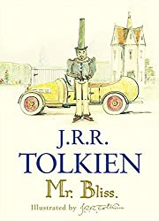 Hardcover copy of Mr. Bliss - Tolkien's illustration of Mr. Bliss in a tall hat with his motor car in the background