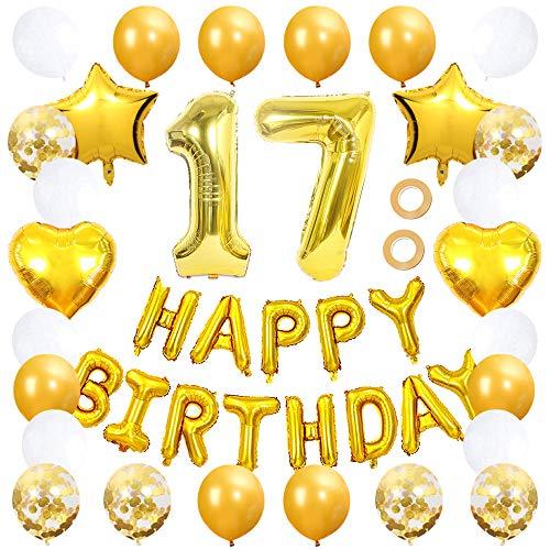 Ceqiny Juego de globos para decoración 17 cumpleaños pancarta de feliz globos dorados número 17 globos confeti látex blanco estrella corazón papel aluminio suministros fiestas para niñas y niños