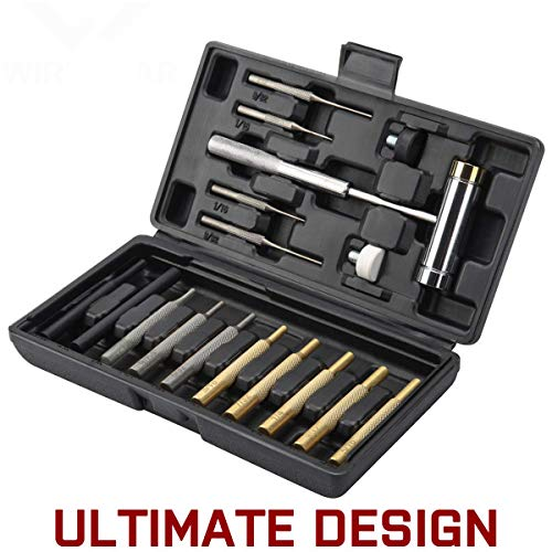W WIREGEAR Gunsmith Punch Set Hammer and Punch Set Brass Punch Set Upgraded with Brass Made of Solid Non-deformed Material with Brass Punch Steel Punch and Steel Hammer In Storage Case for Gunsmithing