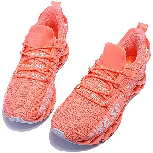 UMmaid Turnschuhe Damen Laufschuhe Sportschuhe Sneaker Schuhe Straßenlaufschuhe Freizeitschuhe für Outdoor Fitness Sporthalle Leichtgewichts Atmungsaktiv Walkingschuhe,A Orange Pink,38