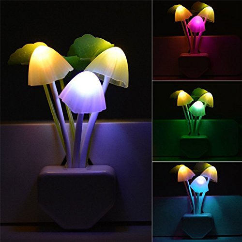 Smart Dusk to Dawn Sensor Led Night Light, 0.6W Multi-Color Changing Plug-in Mushroom Dream Bed Nightlight, Funny Energy Efficient Wall Lamp Flower Novelty Gifts for Nursery, Baby, Kids, Adults