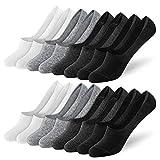 Newdora Sneaker Socken Damen, 8 Paar Baumwolle Füßlinge Unsichtbare Kurze Rutschfest Silikon Socken, Schwarz, Dunkelgrau, Hellgrau, Weiß