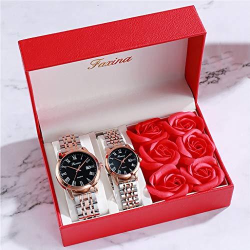 PIANAI Un par de Reloj Femenino Simple Reloj Masculino/Juego de Regalo/Reloj de los Amantes/cinturón de Acero Impermeable Reloj de Cuarzo con Doble Calendario,B