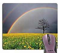 自然虹の風景マウスパッド、タンポポのフィールド、虹と曇り空の下の孤独な不毛の木雨の天気シーンマウスパッドおしゃれスリップ防止