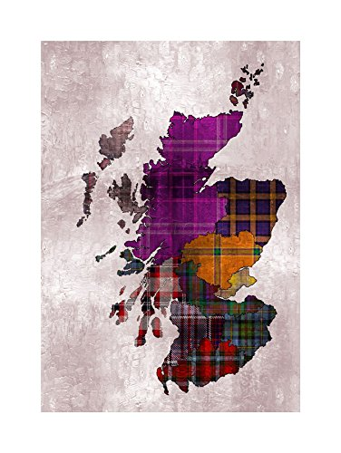 The Art Stop Painting MAP Outline Scotland Tartan Inset Regions Print F12X6524