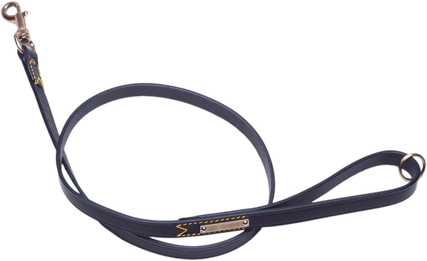 Petego La Cinopelca Classic Leather Leading Leash, Black, 3 5Inch by 47 1 4Inch