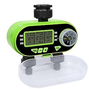Temporizador de Riego Automatico con 2 Salidas, Programador de Riego Automático con Pantalla LCD para el Invernadero de Patio de jardín