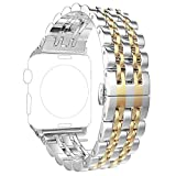 Replacement for Apple Watch Bands 38mm Series 3 2 1 40mm Series 6 5 4 SE, PUGO TOP Stainless Steel iWatch iPhone Watch Bracelet Link Band 2 Tones for Men Women Fancy Designer(38mm/40mm, Gold)