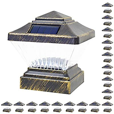 18 Pack Black/Bronze/Copper/White 4 x 4 Solar LED Post Deck Cap Square Fence Light Landscape Lamp PVC Vinyl Wood