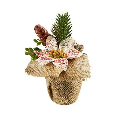 Unbekannt TRI Blumengesteck Christstern Weihnachtsgesteck Adventsgesteck, künstliche Blume, Jutebeutel-Blumentopf, 12 x 12 x 18 cm