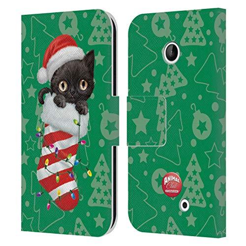 Head Case Designs Ufficiale Animal Club International Gatto 2 Calzini Natalizi Cover in Pelle a Portafoglio Compatibile con Nokia Lumia 630