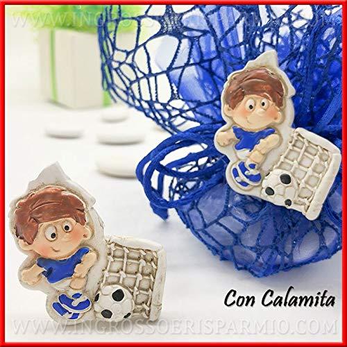 Ingrosso e Risparmio 12 imanes de resina con forma de futbolista en la camiseta de fútbol - Detalles económicos para Primera Comunión, cumpleaños temáticas (con paquete de color crema)