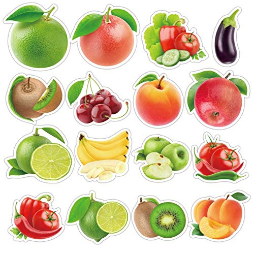 BLOUR 50 unids/Lote exquisitos Dibujos Animados de Frutas Frescas Pegatinas de Verduras para Cocina, panadería, Taza, Plato, refrigerador, Juguete Educativo para niños