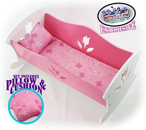 Matty s Toy Stop 18 Inch Doll Furniture Wooden Doll Rocking Cradle Crib with Pink Pillow Cushion product image