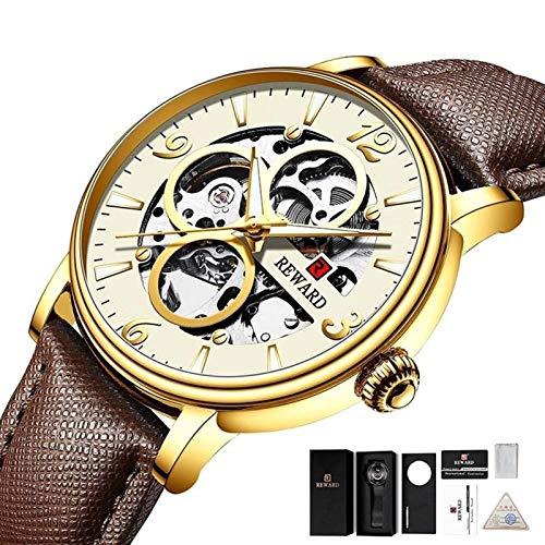 JISHIYU Moda Hollow Hombres Reloj Mecánico 30M Mesa a Prueba de Agua Relojes de Pulsera de Cuarzo de Cuero Genuino (Color : Brown Gold)