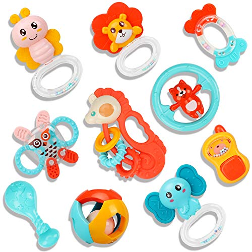 TOY Life 10PCS Baby Rattles Infant Toys for Baby  Rattles for Babies Baby Musical Toy Newborn Toys Infant Rattle Set  Grab Shaker and Spin Rattles Baby Toys 12 Months Up Baby Gifts