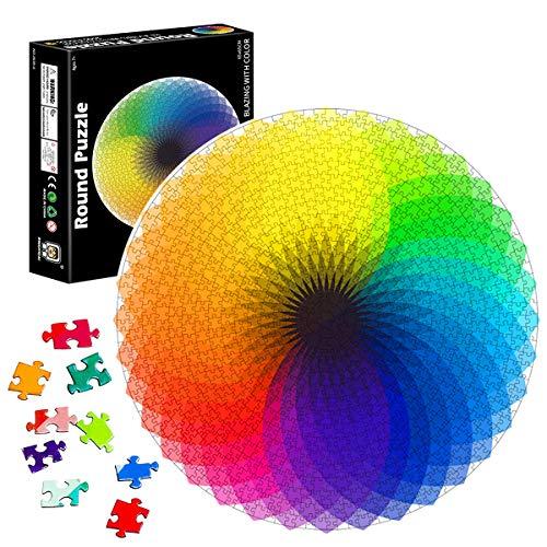TaimeiMao Puzzle Redondo 1000 Piezas,Rompecabezas Redondo,Puzzle Creativo,Puzzle Arcoiris,Puzzle Adultos (Arco Iris de mil Colores)
