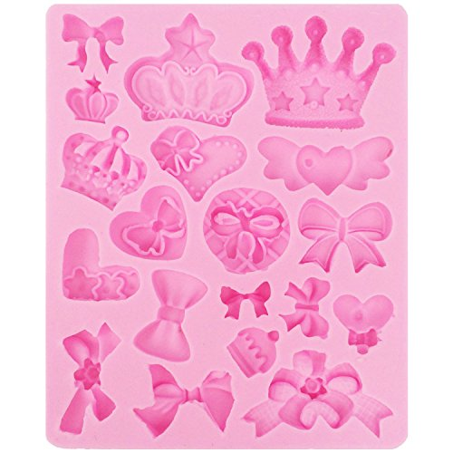 FUNSHOWCASE Assorted Bows Crown Heart Silicone Mold Cake Decorating for Sugarcraft, Fondant, Resin, Polymer Clay, Crafting Projects