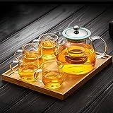 Resistencia a Altas temperaturas NHL Engrosar la Caldera de té hervida de Vidrio para el hogar Caldera de cocción al Vapor Tetera de Vidrio 840 ml (Tetera + 4 Tazas + Placa de bambú) Exquisito Regalo