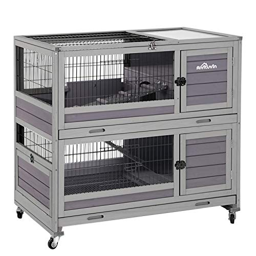 Rabbit Hutch Indoor Guinea Pig Cage on Wheels Outdoor Bunny Cage with Deep No Leak Pull Out Tray,Upgrade Version (Gray)