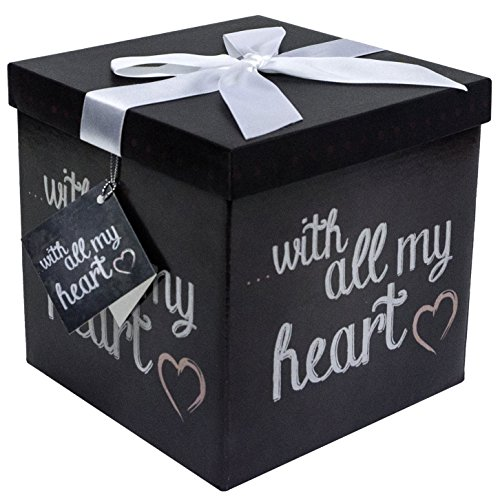Gift Box 7x7x7 Amrita Heart Pop up in Seconds comes with Decorative Ribbon mounted on the lid A Gift Tag and Tissue Paper  No Glue or Tape Required