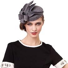 F FADVES Elegant Wedding Wool Felt Fascinator Cocktail Pillbox Hat Ladies Winter Floral Fedoras