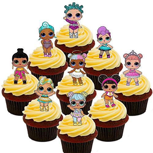 Made4You LOL-Surprise-Puppen-Party-Pack, essbare Kuchendekorationen – Stehende Cupcake-Topper aus Esspapier