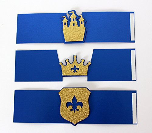 All About Details Royal Blue & Gold Prince Theme Napkin Holders, Set of 12