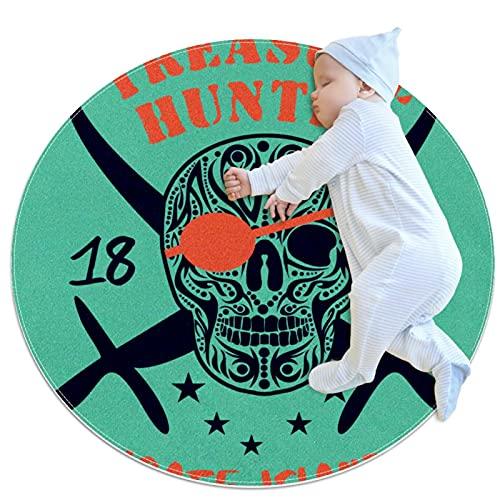 Alfombras redondas bebé gateando Mat algodón infantil rastrero Playmat niños antideslizante juego manta decoración habitación cuchillo cráneo