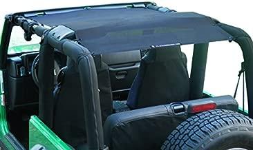 ALIEN SUNSHADE Jeep Wrangler YJ (1987-1995) and TJ (1996-2006) Full Length Sun Shade Mesh Top Cover (Black) – 10 Year Warranty - Blocks UV, Wind, Noise