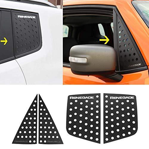 Bestmotoring Jeep Renegade Auto-Fenster-Dekoration, für Vorder- und Heckfenster, Aluminiumlegierung, Abdeckung für Jeep Renegade 2016–2019 Schwarz 1111-Best-us-05754