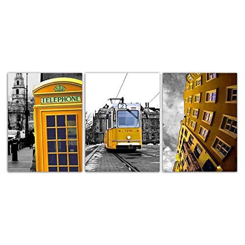 Nordic Canvas Paintings Moderne stad landschap bus telefoon tand woonkamer wanddecoratie poster afdrukken creatieve foto's kunst 40X60CMX3 niet ingelijst