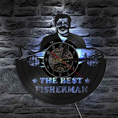 WFUBY Black Glue Wall Clock The Best Fisherman Funny Fishing Man Fishery Wall Art Watch Vintage Vinyl Record Wall Clock Gift for Peterman Dad Fish 7 Colors