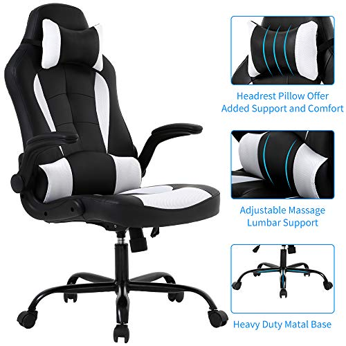 Meet perfect Racing Office Chair Gaming Chair High Back Computer Desk Executive Recliner Ergonomic Backrest & Seat Height Adjustable Swivel Rocker with Headrest & Lumbar Pillow Support- Black/White chair footrest gaming