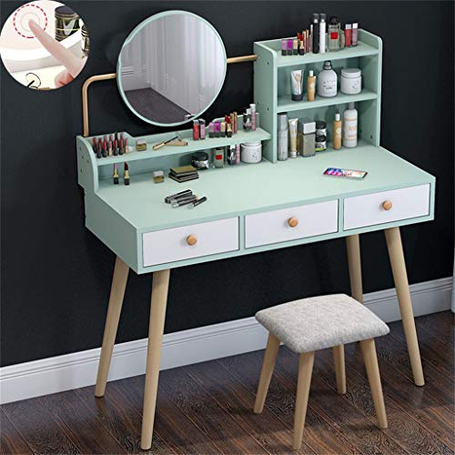 Check Out This Makeup Vanity Table Set with LED Touch Screen 3 Adjustable Lighted Mirror and Cushion...