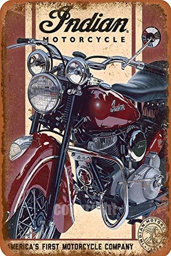 Señal de metal para calle de motocicleta india para exteriores, estilo vintage, decoración para el hogar, casa de campo rústica, porche, 20,3 x 30,4 cm