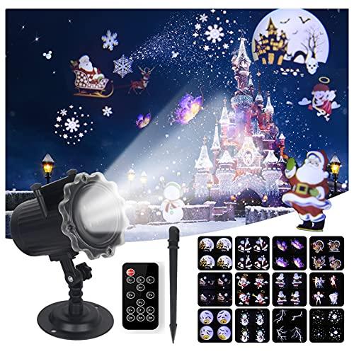 Halloween Luces del Proyector Exterior Control Remoto Impermeable Navidad Proyector con 12...