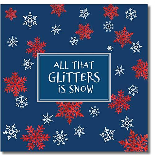 Weihnachtskarte – All That Glitters Is Snow – Silberfolien-Schneeflocken – innen blanko – Aquarellkunst