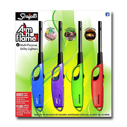 Scripto AIM 'N Flame Multi-Purpose Lighters, Pack of 4