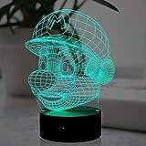Super Mario Night Light, lampada in acrilico 3D a LED, con telecomando USB, 7 colori, ideale per gli appassionati di videogiochi, decorazione per la casa, regalo di vacanza.