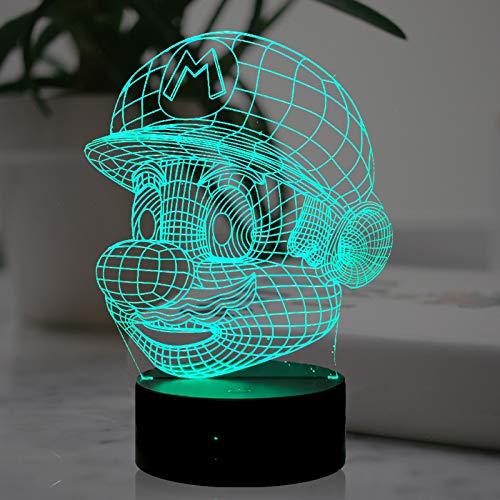 Super Mario Night Light, lámpara única acrílica 3D LED, USB, 7 colores, mando a distancia, mejor recuerdo para los amantes de los juegos y decoración del hogar, regalo de vacaciones.