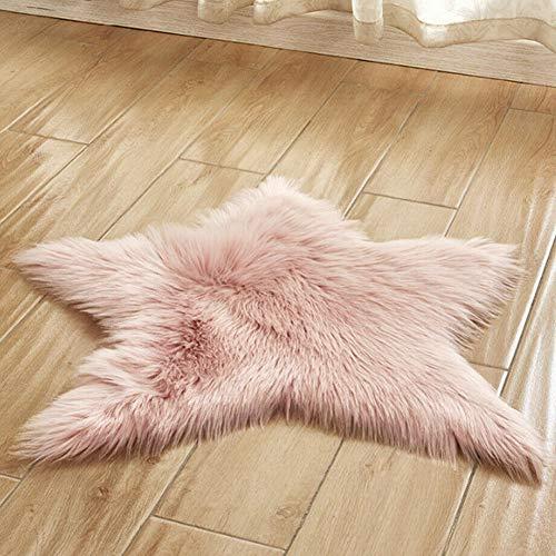 Amusingtao Bereich Teppich Bodenmatte Teppich Super weich Flauschig Seidig Babyzimmer Kinderzimmer Sternform Pentagramm Anti Rutsch Lang Plüsch Wohnkultur Für Schlafzimmer(Rosa)