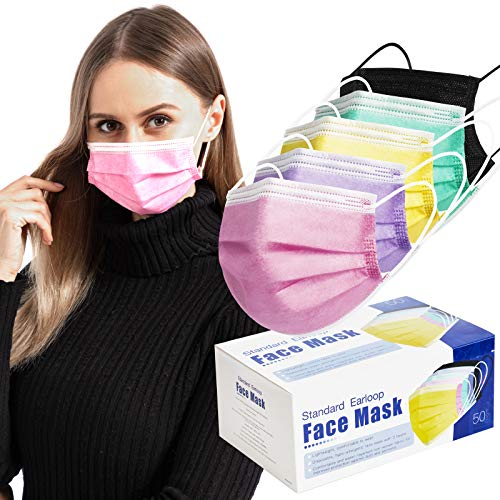 50 Pcs Multi-Colored Face Masks with Elastic Earloops, 3-ply Breathable Dust Face Mask