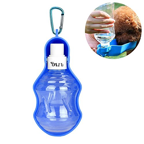DUBENS Hund Wasser Flasche, Tragbare Pet Wasserspender, Katze Hund trinkflasche Wasserflaschen unterwegs, Haustiere Kunststoff mit Schüssel Reise Tragbar Faltbar (250ml)